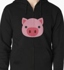 Sudadera con capucha y cremallera Emoji de cara de cerdo