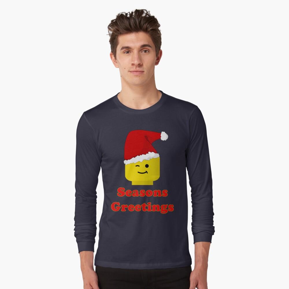 Santa Minifig Seasons Greetings by Customize My Minifig Long Sleeve T-Shirt Front