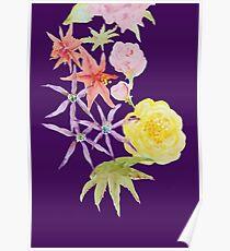 Watercolour florals on purple Poster