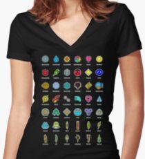 Pokemon Badges Women's Fitted V-Neck T-Shirt