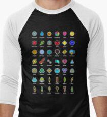 Pokemon Badges Men's Baseball ¾ T-Shirt