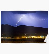 Lightning Striking Over IBM Boulder Poster
