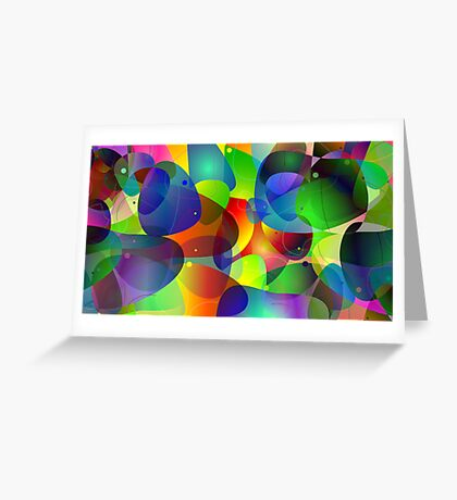 """Colorful Abstract Digital Art-Title"""" Fish Tank Greeting Card"""