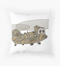 Chinook Helicopter Cartoon Throw Pillow
