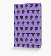 """Cherry on Pup"" Black Pug Cake Pattern Purple Greeting Card"