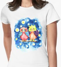 Two owls and a starry night Womens Fitted T-Shirt