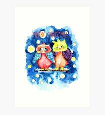Two owls and a starry night Art Print