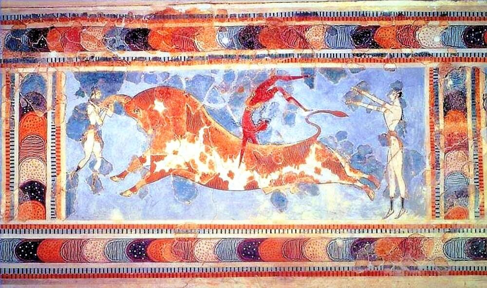 Minoan Bull Leaping Fresco by W. Sheppard Baird
