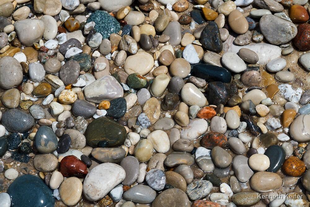 Beach Stones at Pointe Betsie, Michigan by Kenneth Keifer
