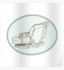 Mechanical Digger Excavator Oval Etching Poster
