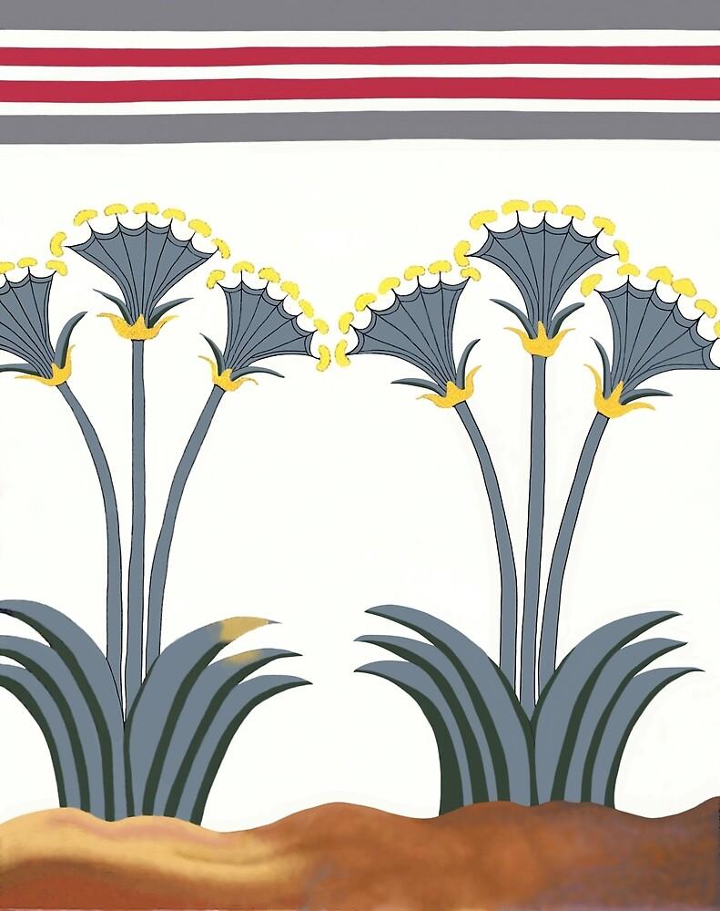 "Minoan Sea Daffodils ""Lilies"" Fresco Restoration by W. Sheppard Baird"