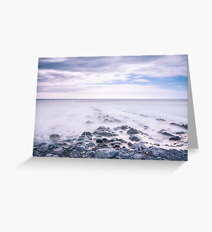 The tide washes in ~ Welcombe Mouth, Devon, UK Greeting Card