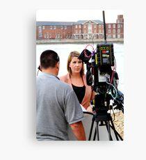 BBC news reporter on location Canvas Print