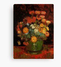 Vase with Zinnias Vincent van Gogh Canvas Print