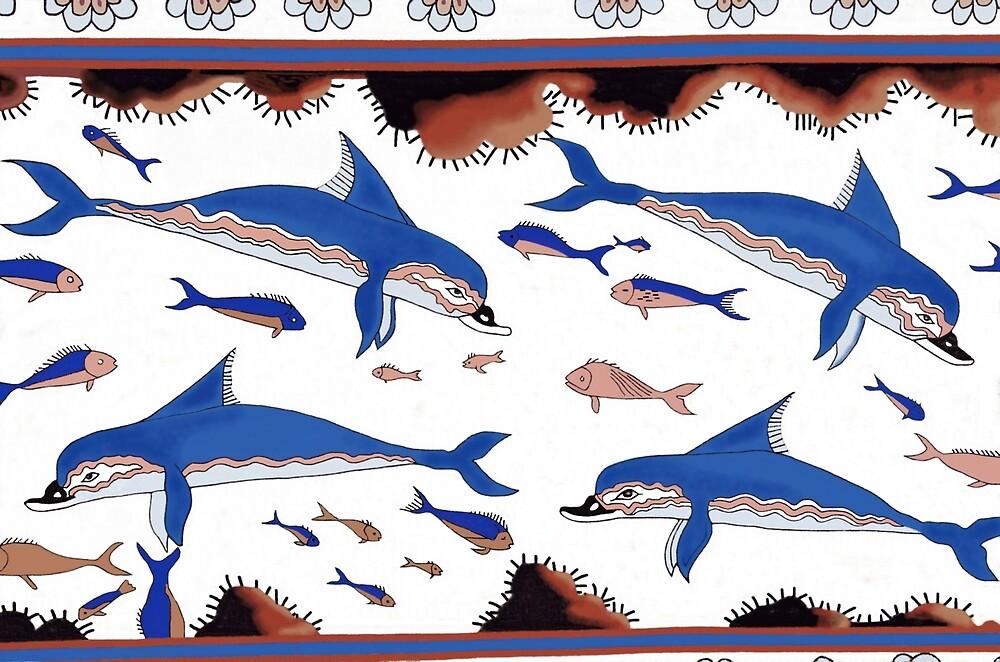Minoan Dolphins Fresco Restoration by W. Sheppard Baird