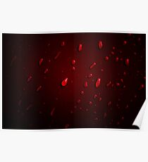 Red Red Rain Drops Poster