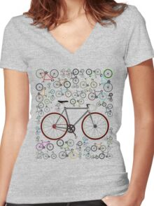 Love Fixie Road Bike Women's Fitted V-Neck T-Shirt