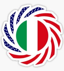 Italian American Multinational Patriot Flag Series Sticker