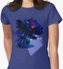 Black Fighting Rooster Womens Fitted T-Shirt
