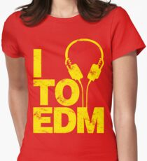 I Listen to EDM (yellow) Women's Fitted T-Shirt