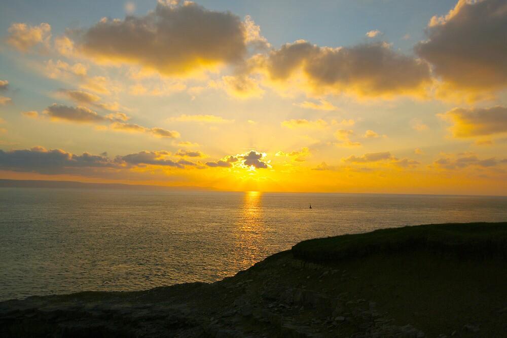 Sunset at Nash point by Amanda Clegg