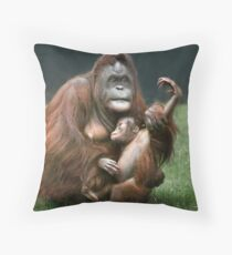 Orangutan Mother and Baby Throw Pillow