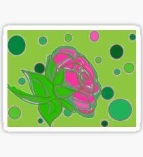 Pink rose green dots Sticker