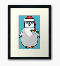 Christmas Penguin with Red Santa Hat, Holly & Silver Jingle Bell Framed Print