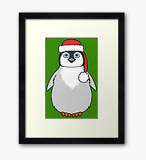 Christmas Penguin with Red Santa Hat Framed Print