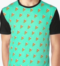 Cool and Trendy Pizza Pattern in Super Acid green / turquoise / blue Graphic T-Shirt