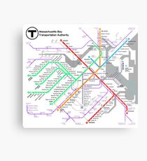 MBTA Boston Subway - The T (light background) Metal Print