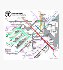 MBTA Boston Subway - The T (light background) Photographic Print