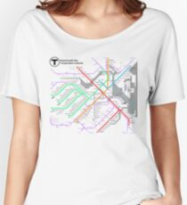 MBTA Boston Subway - The T (light background) Women's Relaxed Fit T-Shirt