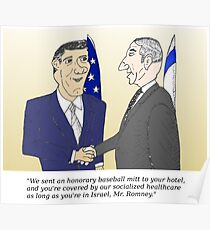 Caricatured Bibi and Romney Poster