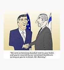 Caricatured Bibi and Romney Photographic Print