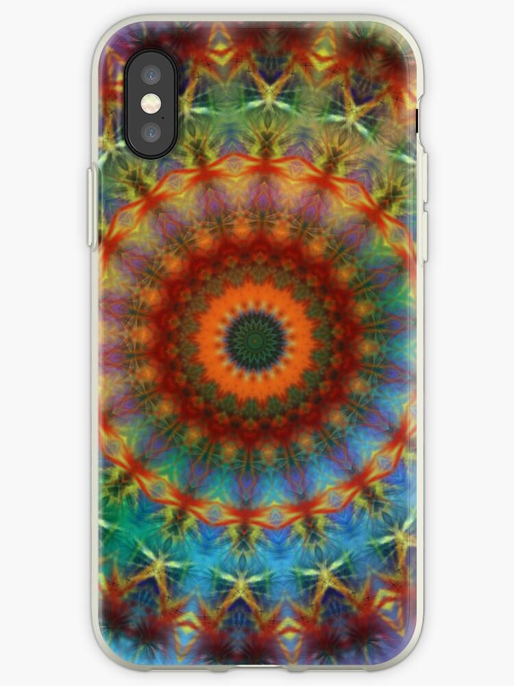 Orange Earth Rainbow mandala iPhone case by Vicki Field