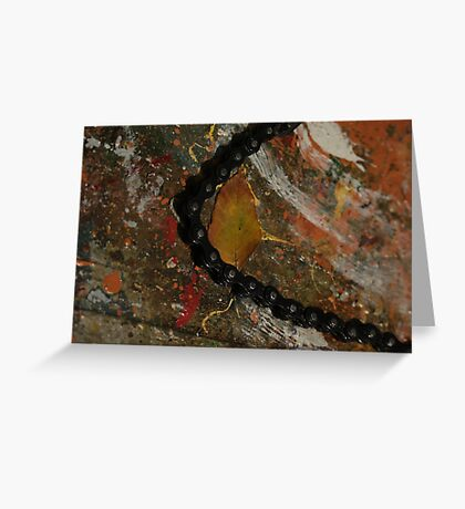 Early Leaf that fell by Garage Door Chain Greeting Card