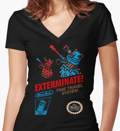 ExtermiNES! Women's Fitted V-Neck T-Shirt