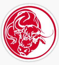 Bull Silhouette In Red Ink Tattoo Style Sticker