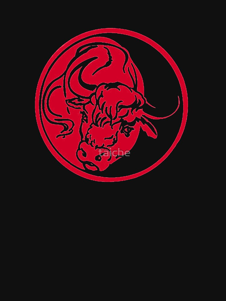 Bull Silhouette In Red Ink Tattoo Style by taiche