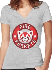 Fire Ferrets Women's Fitted V-Neck T-Shirt