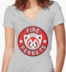 Fire Ferrets Women's Fitted V-Neck T-Shirt