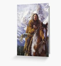 Warriors of the High Country, Ute, Native American paintings, James Ayers Studios Greeting Card