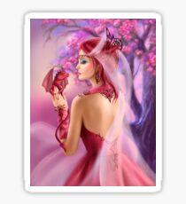 Beautiful fantasy woman queen and red dragon sakura background Sticker