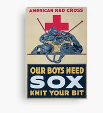 Our boys need sox knit your bit American Red Cross Canvas Print