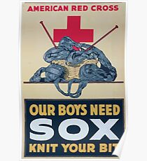 Our boys need sox knit your bit American Red Cross Poster
