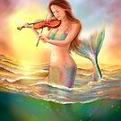 Beautiful  fantasy mermaid plays on violin on sunset by Alena Lazareva