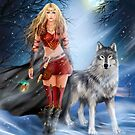 Fantasy Winter Warrior Princess and wolf by Alena Lazareva