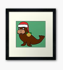 Christmas Walrus with Red Santa Hat, Holly & Gold Jingle Bell Framed Print