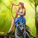 Fantasy girl fairy and friend wolf. Plays a harp. Morning wood. by Alena Lazareva